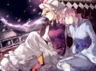 Konachan.com - 186020 2girls blonde_hair hug_(yourhug) japanese_clothes petals pink_hair saigyouji_yuyuko sleeping tears touhou yakumo_yukari