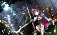 Konachan.com - 186259 animal animal_ears bird bow brown_hair catgirl chen dress feathers flowers instrument red_eyes ryosios short_hair tail touhou water waterfall