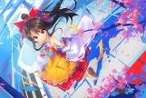Konachan.com - 186642 hakurei_reimu japanese_clothes leaves miko touhou wei_(hoshieve)