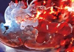 Konachan.com - 186871 bob_(biyonbiyon) fire fujiwara_no_mokou red_eyes touhou white_hair