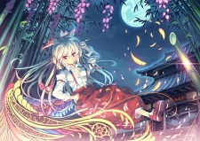Konachan.com - 187425 blonde_hair bow brown_eyes cigarette feathers fujiwara_no_mokou long_hair moon orita_enpitsu touhou tree