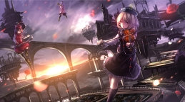 Konachan.com - 188139 blonde_hair brown_eyes building flowers hat instrument kneehighs lunasa_prismriver petals purple_hair rose ryosios short_hair sunset touhou violin