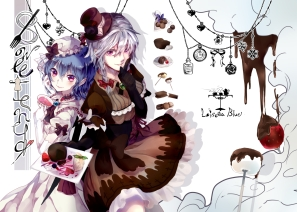Konachan.com - 188620 2girls blue_hair bow braids cake dress drink elbow_gloves food gray_hair hat izayoi_sakuya long_hair necklace pink_eyes short_hair strawberry touhou