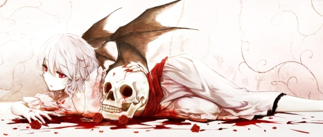 Konachan.com - 188863 blood cloudy.r flowers purple_hair red_eyes remilia_scarlet rose short_hair skull touhou wings