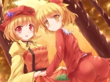 Konachan.com - 189263 2girls aki_minoriko aki_shizuha ass blonde_hair hat lzh red_eyes ribbons short_hair touhou tree yellow_eyes