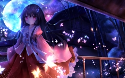 Konachan.com - 189578 black_hair building fromage_tart houraisan_kaguya japanese_clothes long_hair moon night petals pink_eyes touhou