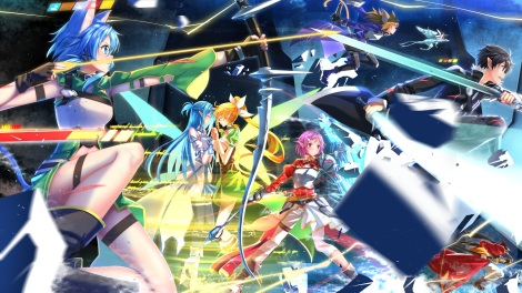 Konachan.com - 190318 blue_hair boots cape catgirl gloves group kneehighs leafa lisbeth long_hair male pina pink_eyes pink_hair ponytail sword swordsouls tail weapon wings