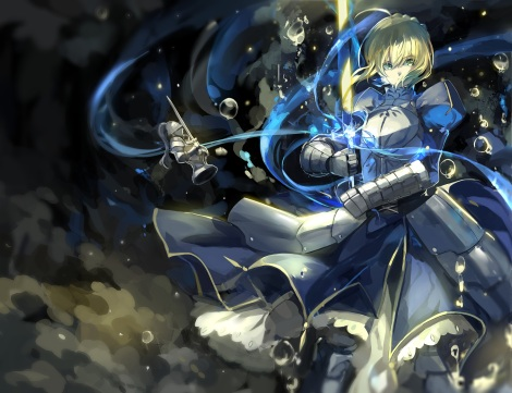 Konachan.com - 190748 armor blonde_hair bubbles dress fate_stay_night fate_zero green_eyes saber saberiii short_hair sword weapon