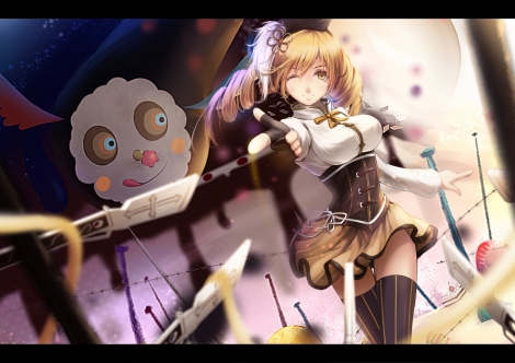 Konachan.com - 191082 blonde_hair gloves gun hat lancefate long_hair mahou_shoujo_madoka_magica ribbons skirt thighhighs tomoe_mami weapon wink yellow_eyes zettai_ryouiki