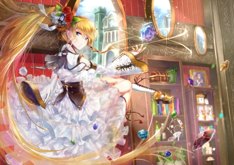 Konachan.com - 191339 amatou_cacao blonde_hair blue_eyes boots dress flowers headdress long_hair magic original rose