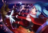 Konachan.com - 174978 animal blue_eyes blue_hair christmas elbow_gloves fairy fang hatsune_miku headband night santa_costume twintails vocaloid wei_ji