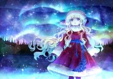 Konachan.com - 175051 blonde_hair blue_eyes hat hira_taira jpeg_artifacts original santa_costume santa_hat stars