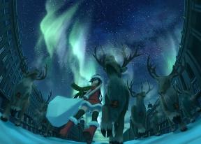 Konachan.com - 175117 animal boots christmas night original panties reindeer sakais3211 santa_costume sky snow stars thighhighs underwear winter