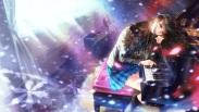 Konachan.com - 181042 black_hair blue_eyes guitar instrument kneehighs long_hair mori_no_kuma-san petals piano seifuku skirt touma_kazusa white_album white_album_2