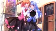 Konachan.com - 181150 2girls blue_eyes blue_hair blush dress hoto_kokoa kafuu_chino long_hair orange_hair petals purple_eyes ribbons short_hair swordsouls wink