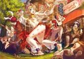Konachan.com - 181310 animal blue_eyes breasts building cleavage crown esha food gloves headband long_hair male navel petals pink_hair ponytail red_hair wink wristwear