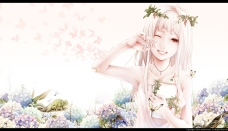 Konachan.com - 181580 bandaid bouno_satoshi butterfly flowers necklace original red_eyes tears white_hair