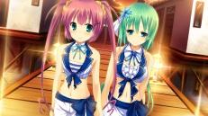 Konachan.com - 181712 2girls blue_eyes game_cg green_hair kaku_konami koisuru_natsu_no_last_resort long_hair mottsun navel pink_hair pulltop tsukumi_sango twintails