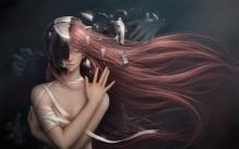 Konachan.com - 181928 bandage breasts cleavage elfen_lied long_hair lucy_(elfen_lied) red_hair tagme