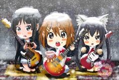 Konachan.com - 182421 akiyama_mio catgirl chibi guitar hirasawa_yui instrument k-on! nakano_azusa snow