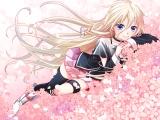 Konachan.com - 182687 blonde_hair blue_eyes cherry_blossoms ia junji long_hair petals vocaloid