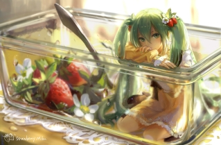 Konachan.com - 183493 dress flowers food green_eyes green_hair hatsune_miku kirayoci long_hair strawberry twintails vocaloid