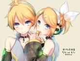 Konachan.com - 184400 blonde_hair blue_eyes choker headphones kagamine_len kagamine_rin kurosawa_itsuki len_append lollipop male rin_append vocaloid