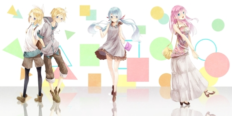 Konachan.com - 185762 blonde_hair blue_eyes blue_hair dress hatsune_miku kagamine_len kagamine_rin megurine_luka pink_hair reio_(reio_reio) shorts vocaloid