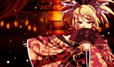 Konachan.com - 186199 blonde_hair fan japanese_clothes kagamine_rin phoenix_(vocaloid) red_eyes tasaka_shinnosuke vocaloid