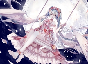 Konachan.com - 188088 amatsukiryoyu barefoot blue_eyes blue_hair clouds dress flowers hatsune_miku long_hair moon night petals sky twintails vocaloid wings