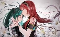 Konachan.com - 188619 2girls flowers green_hair hatsune_miku headband kiss long_hair megurine_luka okingjo red_hair signed tattoo twintails vocaloid