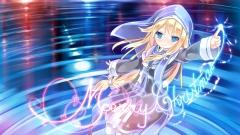Konachan.com - 191506 arms_ai blonde_hair blue_eyes christmas dress headdress long_hair original ponytail