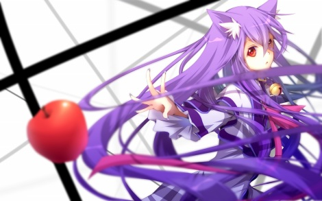 Konachan.com - 191607 animal_ears apple bell collar kawasaki_toiro long_hair original purple_hair red_eyes ribbons