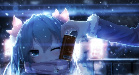 Konachan.com - 191757 aqua_eyes aqua_hair drink hatsune_miku long_hair scarf sen_ya snow twintails vocaloid wink winter