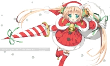Konachan.com - 192315 bell blonde_hair christmas green_eyes hat long_hair original santa_costume santa_hat shimesaba_kohada spear twintails weapon