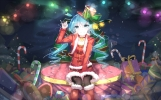 Konachan.com - 193487 bell boots bow choker christmas hat hatsune_miku long_hair santa_costume sen_ya skirt thighhighs twintails vocaloid