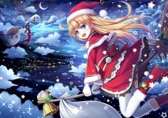 Konachan.com - 193575 akashio bell blonde_hair blue_eyes boots christmas clouds gloves hat long_hair moon night puyo_puyo santa_hat scarf sky snow stars thighhighs