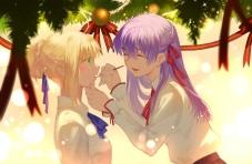 Konachan.com - 193586 2girls blonde_hair blush christmas fate_stay_night joseph_lee long_hair matou_sakura purple_hair ribbons saber shirt short_hair