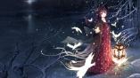 Konachan.com - 193589 animal bird dress long_hair magic night original snow tiara tree wait yellow_eyes