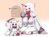 Konachan.com - 193603 blush christmas hat kantai_collection long_hair northern_ocean_hime red_eyes santa_hat scarf seaport_hime white_hair x6suke