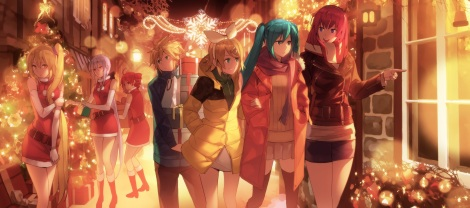 Konachan.com - 193770 blue_eyes boots christmas dress gloves group headband jandy male night ponytail red_eyes red_hair ribbons scarf skirt twintails utau vocaloid