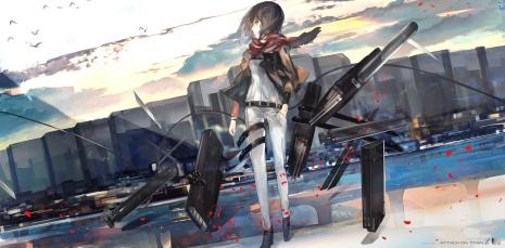 Konachan.com - 167771 animal bird black_eyes black_hair clouds jpeg_artifacts kiwamu mikasa_ackerman petals scarf shingeki_no_kyojin short_hair weapon
