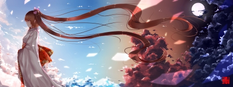 Konachan.com - 170389 brown_hair clouds dualscreen dusk_dawn himekaidou_hatate japanese_clothes kimono long_hair moon pointed_ears red_eyes sky touhou twintails
