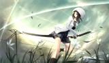 Konachan.com - 170443 black_hair blue_eyes flowers hat katana kikivi leaves original skirt socks sword train weapon