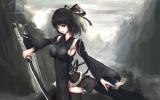Konachan.com - 170971 black_eyes black_hair katana kikivi original sideboob sword thighhighs weapon