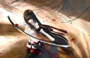 Konachan.com - 173487 black_eyes black_hair gloves katana kikivi long_hair original pantyhose petals sword weapon