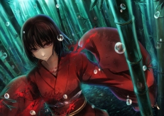Konachan.com - 173707 black_hair blood brown_eyes japanese_clothes kara_no_kyoukai kimono rain ryougi_shiki short_hair todee tree water wet