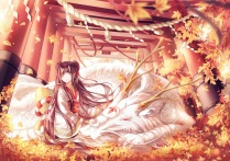 Konachan.com - 174080 animal autumn black_hair horns instocklee japanese_clothes kimono leaves long_hair original petals pointed_ears ribbons yellow_eyes