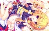 Konachan.com - 175729 blonde_hair japanese_clothes kimono magicalic_sky_high mikagami_mamizu pointed_ears purple_eyes saraira whirlpool