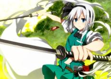 Konachan.com - 178547 blue_eyes bow katana konpaku_youmu sazanami_mio sword touhou weapon white_hair